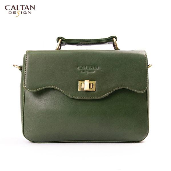牛皮/斜背包/小包【CALTAN】甜美風輕巧波浪開口兩用斜背/手提包-5223cd-綠