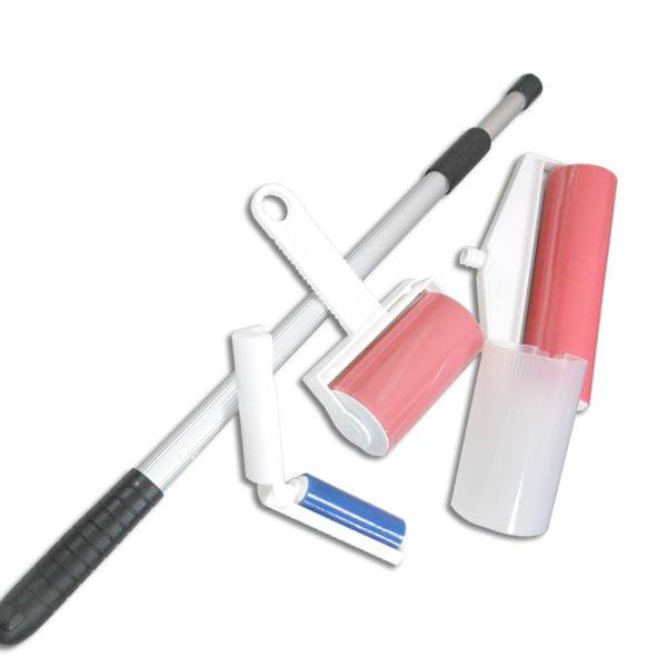 《愛家捷》清潔達人環保萬用強力黏巴達除塵器〈大中小三入清潔組-附90cm鋁桿X1〉