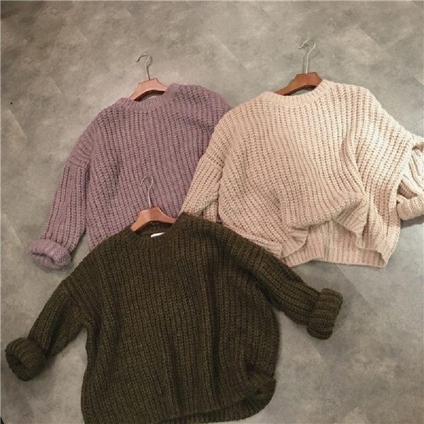 梨卡★現貨 - 秋冬氣質甜美寬鬆舒適保暖毛衣針織衫T恤上衣/3色DA012