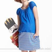【ohoh-mini孕婦裝】浪漫雪紡假兩件條紋孕婦洋裝