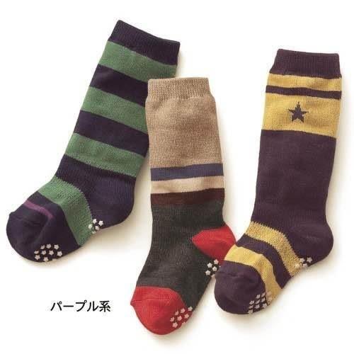 【發現。好貨】千趣會 原單 兒童中筒襪 嬰童中筒襪3雙組 條紋 星星 防滑襪 有防滑顆粒