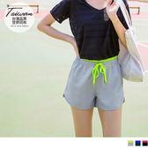 《KS0516-》台灣製造~腰鬆緊拼色綁帶運動短褲 OB嚴選