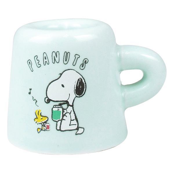 T'S FACTORY 杯子造型迷你陶磁牙刷立架 SNOOPY 午茶系列 薄荷綠_CY11171
