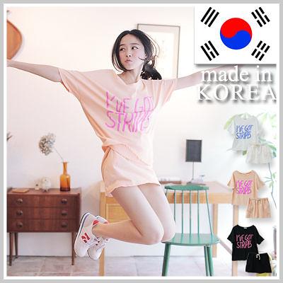 韓製空運 I'VE GOT STRIPES運動棉質2件式彈性抽繩短裙T恤【D926】☆雙兒網☆ Sporty fever