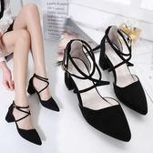 包頭涼鞋女中跟尖頭高跟鞋綁帶粗跟中空女鞋    琉璃美衣