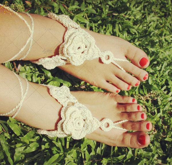 衣美姬♥休閒花朵時尚針織 腳上飾品 歐美熱賣款 海邊 沙灘 涼鞋必備腳飾