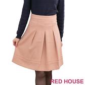 【RED HOUSE 蕾赫斯】打摺網紗及膝裙(粉橘色)