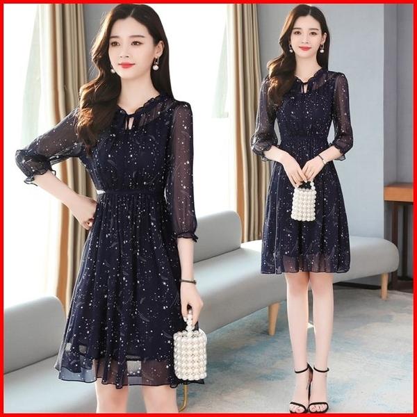 韓國風短袖洋裝 碎花雪紡連衣裙短袖收腰顯瘦氣質連身裙 依多多