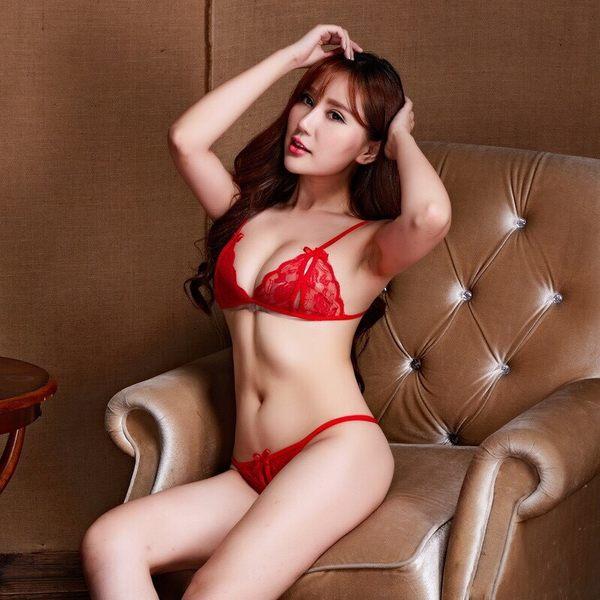台灣現貨天天寄【粉紅菲菲】性感蕾絲 透明女士露乳開檔 三點式情趣內衣 開襠套裝誘惑 H3018