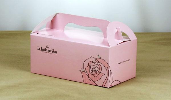 粉玫瑰 手提餐盒(中) 外帶提盒 蛋糕盒 烘焙包裝盒 餅乾糖果紙盒 禮品包裝袋 乳酪盒 婚禮小物