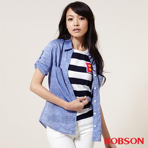 BOBSON 女款七分袖棉麻布襯衫    (25138-57)