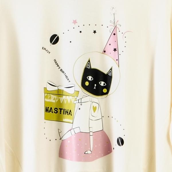 【MASTINA】巨蛋十周年聯名T恤(太空貓)-白  秋裝限定嚴選