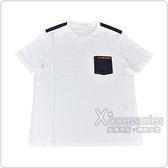 PRADA經典橡膠LOGO拼接口袋純棉短袖T恤(白)