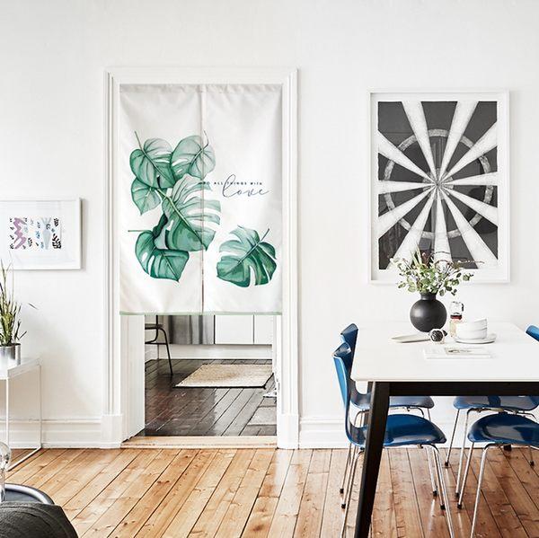 可愛時尚棉麻門簾E294 廚房半簾 咖啡簾 窗幔簾 穿杆簾 風水簾 (85寬*90cm高)
