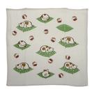 幸福貓 原棉紗布+毛巾布 小方巾 -綠