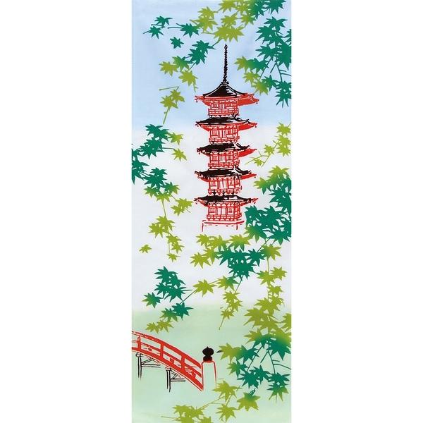 【日本製】【和布華】 日本製 注染拭手巾 夏楓與五重塔圖案(一組:3個) SD-4955-3 - 和布華
