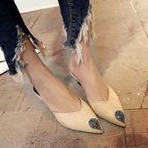 【優選】高跟細跟低跟涼鞋人字拖女包頭尖頭防滑拖鞋