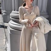 2021厚款過膝長裙輕奢名媛氣質V領配大衣打底毛衣針織洋裝 快速出貨