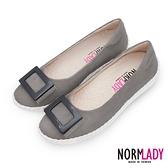 女鞋 休閒鞋 懶人鞋 台灣製 真皮鞋 反絨羊皮方釦磁力厚底氣墊球囊娃娃鞋(優雅灰) Normlady 諾蕾蒂