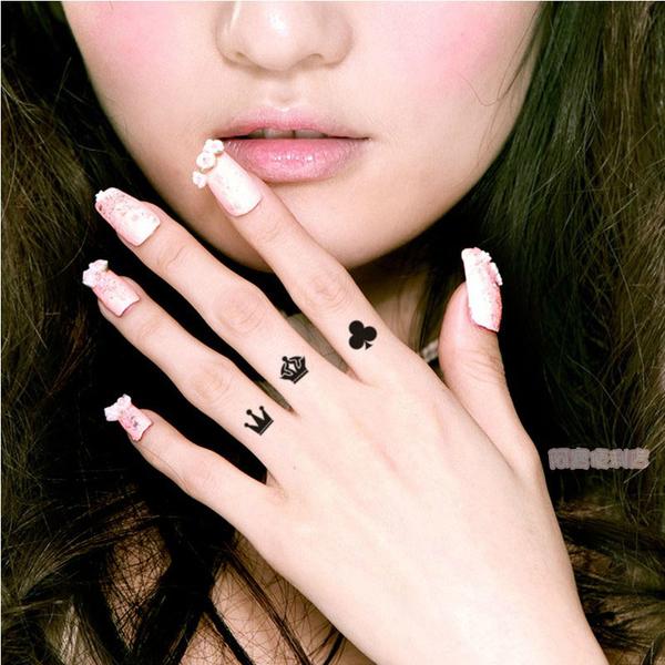 微型 手指紋身刺青貼紙 派對 活動 情人節 戒指 可調 對戒 防小人 晚會 整型 8031