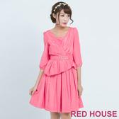 RED HOUSE-蕾赫斯-素面V領打摺洋裝(共兩色)