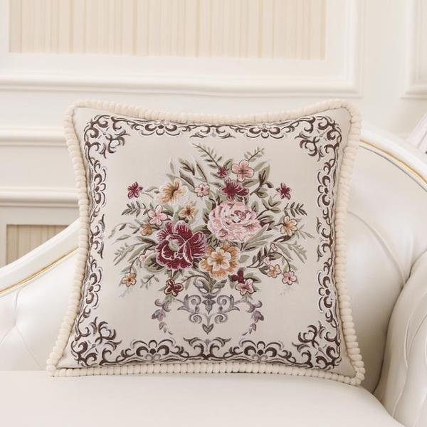 歐式沙發抱枕套不含芯刺繡靠墊套單雙面靠枕布藝靠背