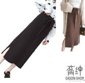 EASON SHOP(GU8468)簡約純色鬆緊腰收腰綁帶下襬側開衩針織絨毛長裙女高腰顯瘦過膝裙修身顯腿長黑色