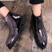 春季新款布洛克英倫高筒皮鞋男亮面商務休閒短靴內增高婚鞋潮 居享優品
