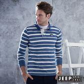 【JEEP】洗舊經典條紋長袖POLO衫 (藍白)