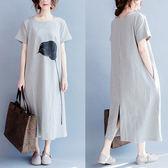 大碼洋裝 連身裙 夏裝新款100公斤胖mm女裝寬鬆顯瘦純棉洋裝大碼文藝範短袖t恤長裙