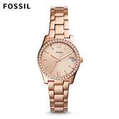 FOSSIL Scarlette 玫瑰金迷你晶鑽不鏽鋼手錶 女 ES4318