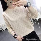 低領秋裝2020新款韓版毛衣女寬鬆外穿雪紡鏤空百搭針織打底衫上衣 618購物節