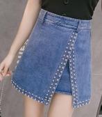 短裙 2020春季新款釘珠牛仔半身裙女高腰寬鬆防走光裙褲A字ins超火短裙