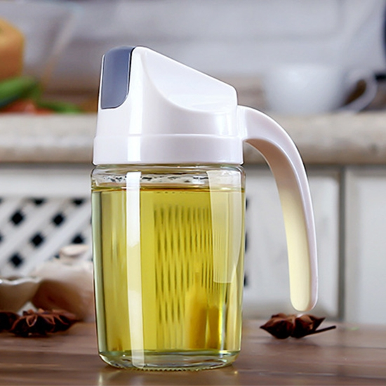 自動掀蓋 油瓶 玻璃油壺 油罐 玻璃瓶 油醋瓶 分裝瓶 自動開蓋 有蓋 自動翻蓋調味瓶【Q086】慢思行