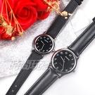 mono 簡約 高雅 設計美學 藍寶石水晶 真皮錶帶 小羊皮 對錶 黑色 5003B黑字小+5003黑字小