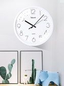 現代鐘錶簡約圓形壁掛鐘時鐘靜音客廳裝飾石英鐘 歐韓流行館