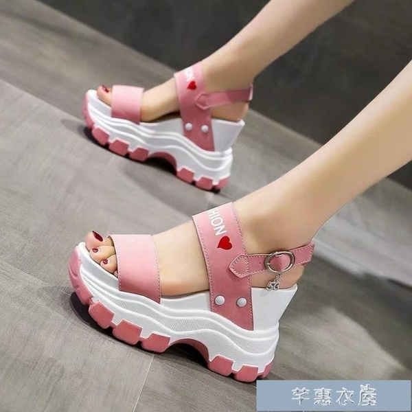增高魚口鞋網紅厚底坡跟涼鞋女夏季新款鬆糕小個子增高10cm高跟運動涼 快速出貨
