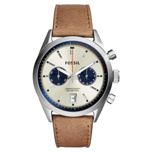 FOSSIL 風靡時代復古時尚腕錶-淺褐皮帶