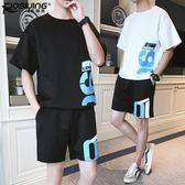 短褲套裝男五分運動褲夏季薄款韓版潮流寬鬆沙灘褲短袖t恤兩件套
