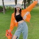 防曬外套女夏季21新款韓版休閒寬鬆百搭設計感拼色薄款短外套女防曬衣 快速出貨