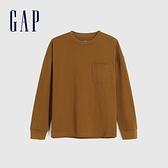 Gap男裝 基本款圓領厚磅休閒長袖T恤 660825-淺棕色