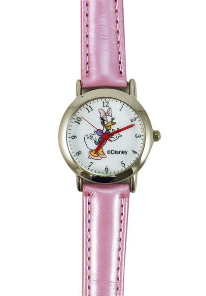 【卡漫城】 黛西 手錶 皮革 粉 ㊣版 鐵框 Daisy 唐老鴨 女朋友 Donald 兒童錶 皮帶錶 卡通錶 女錶