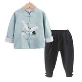 名族風童裝 中國風春秋季兒童漢服棉麻兩件套男女童唐裝寶寶周歲民族服裝國學