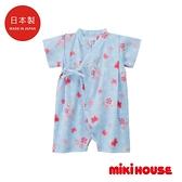 MIKI HOUSE 日本製 舞颯兔和風櫻花浴衣(藍)