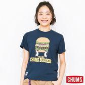 CHUMS 日本 女 漢堡 Burgers 純棉短袖T恤 深藍 CH111120N001