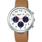 【人文行旅】Agnes b.   法國簡約雅痞 FCRT975 簡約時尚腕錶 41mm