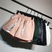 酷酷啦鬆緊高腰閃光運動短褲女夏外穿休閒褲熱褲寬鬆a字闊腿褲【快速出貨】