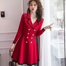 98932-QF #復古 #軍裝 #排扣 #針織 #洋裝 #法式 #顯瘦 #中大碼 #中尺碼 #長袖