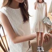 連身裙韓風 性感鏤空荷葉裙襬無袖洋裝 艾爾莎【TGK6792】
