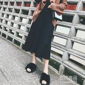 秋冬新韓版黑色毛線針織a字裙中長款高腰裙子百褶半身長裙女    原本良品
